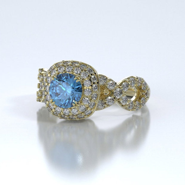 Diamonds Entourant Memorial Ring in 18K Yellow Gold with Diamonds and Blue Topaz Side
