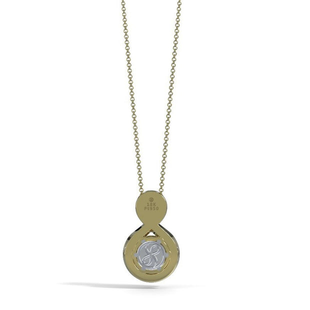 Medium Diamond Eternity Memorial Pendant in 18K Yellow Gold with Peridot Back