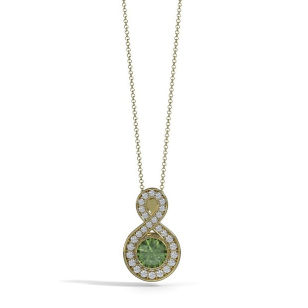 Medium Diamond Eternity Memorial Pendant in 18K Yellow Gold with Peridot Front