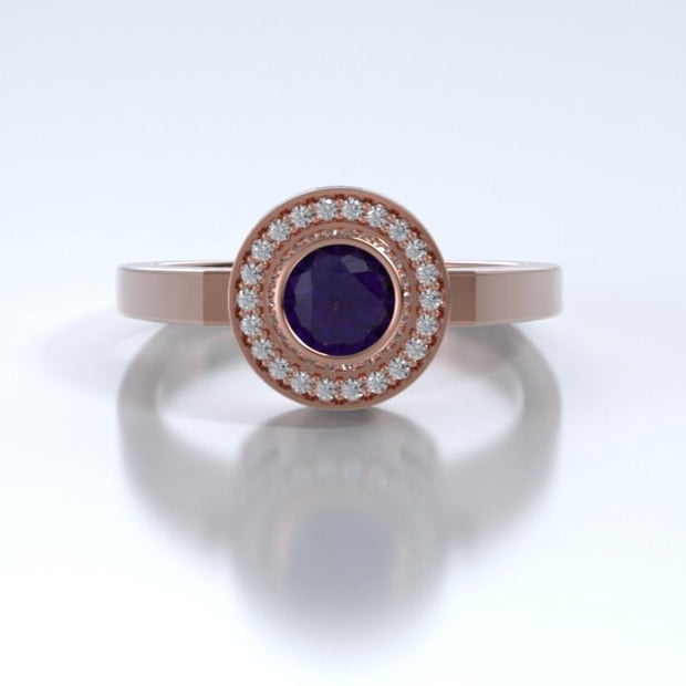 Mystere Diamond Memorial Ring in 18K Rose Gold with Amethyst Front