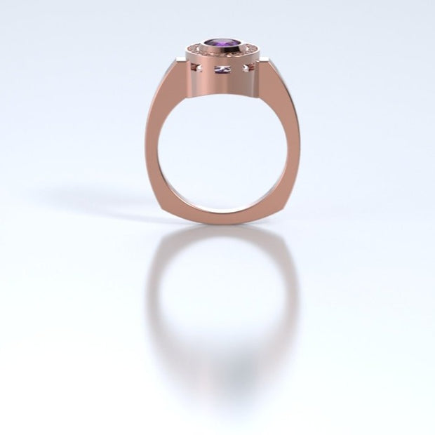 Mystere Diamond Memorial Ring in 18K Rose Gold with Amethyst Profile