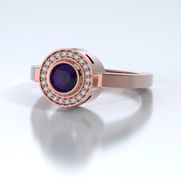 Mystere Diamond Memorial Ring in 18K Rose Gold with Amethyst Side
