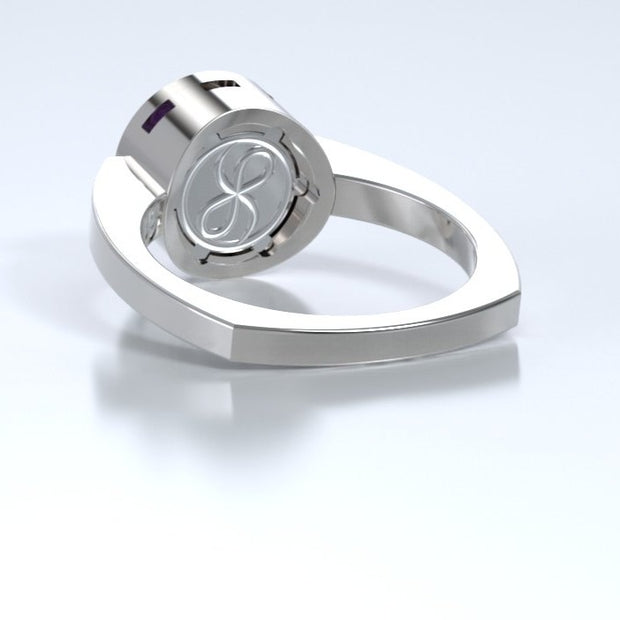 Mystere Diamond Memorial Ring in 18K White Gold with Amethyst Back