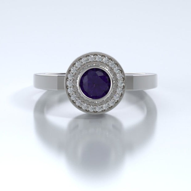 Mystere Diamond Memorial Ring in 18K White Gold with Amethyst Front
