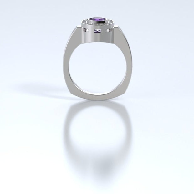Mystere Diamond Memorial Ring in 18K White Gold with Amethyst Profile