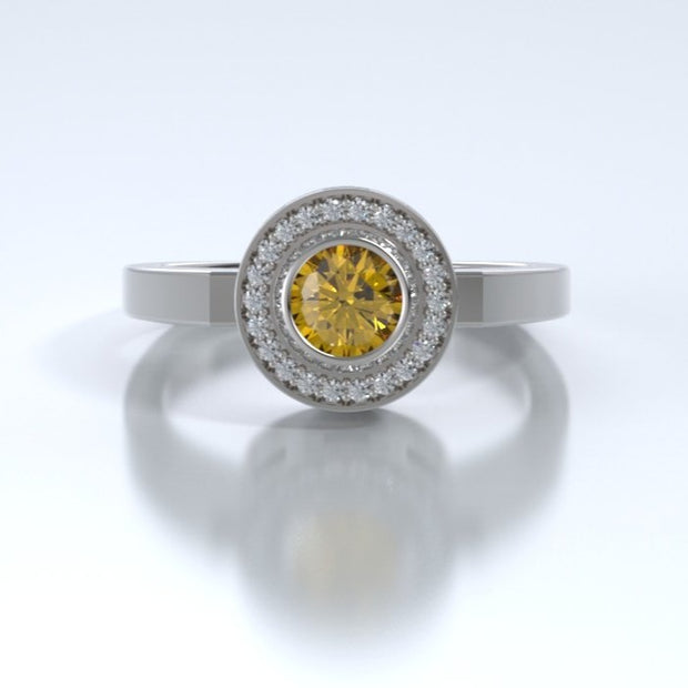 Mystere Diamond Memorial Ring in 18K White Gold with Citrine Front