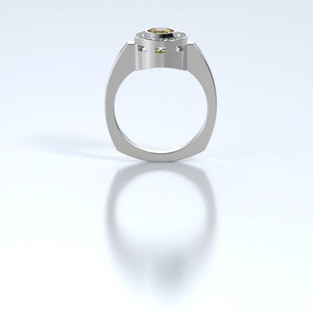 Mystere Diamond Memorial Ring in 18K White Gold with Citrine