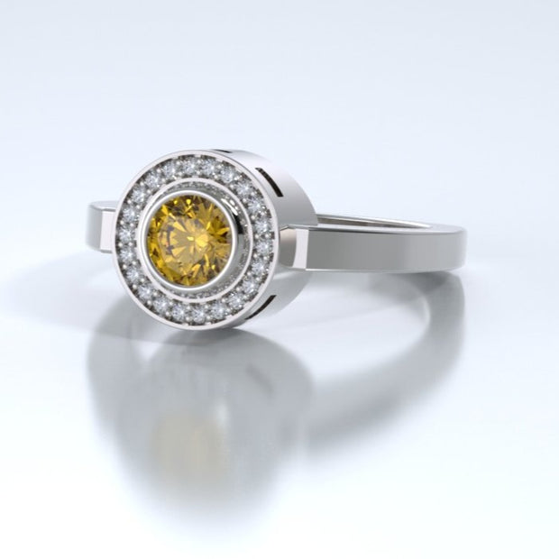 Mystere Diamond Memorial Ring in 18K White Gold with Citrine Side