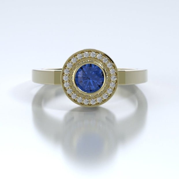 Mystere Diamond Memorial Ring in 18K Yellow Gold with Blue Sapphire Front