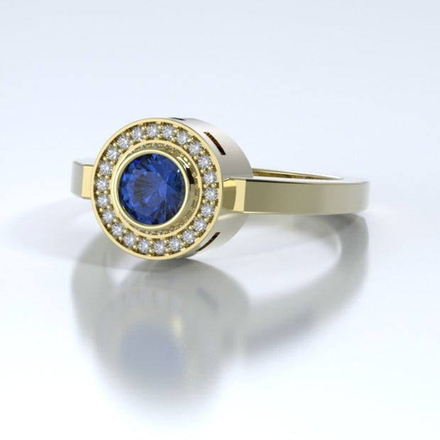 Mystere Diamond Memorial Ring in 18K Yellow Gold with Blue Sapphire Side