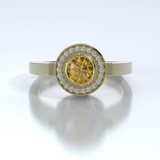 Mystere Diamond Memorial Ring in 18K Yellow Gold with Citrine Front