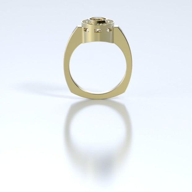 Mystere Diamond Memorial Ring in 18K Yellow Gold with Citrine Profile