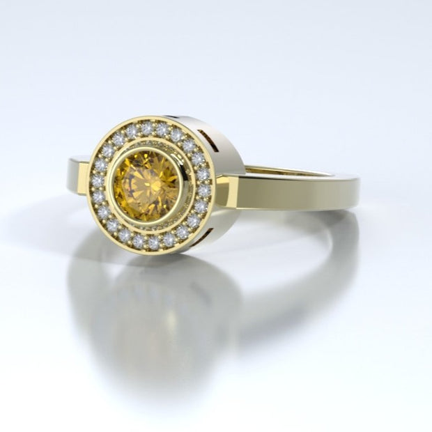 Mystere Diamond Memorial Ring in 18K Yellow Gold with Citrine Side