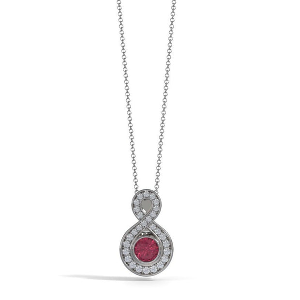 Small Diamond Eternity Memorial Pendant in 18K White Gold with Garnet Front