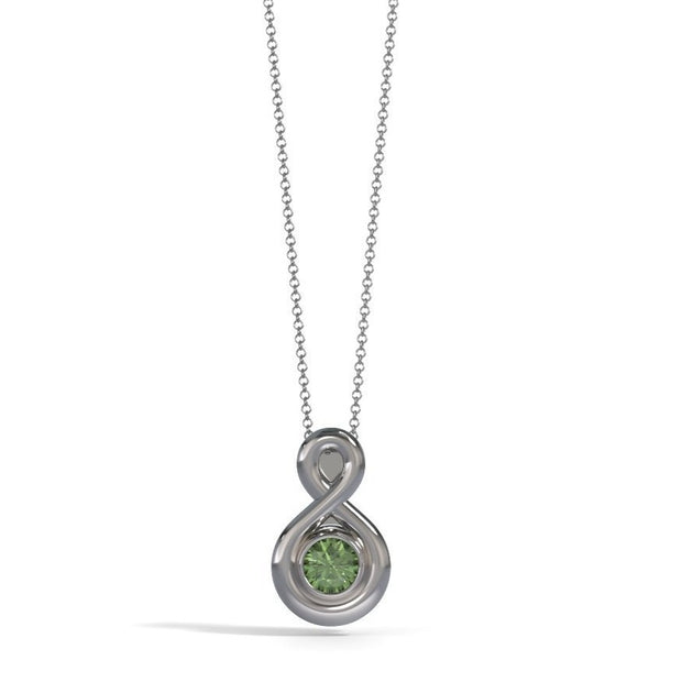 Small Eternity Memorial Pendant in 18K White Gold with Peridot Front