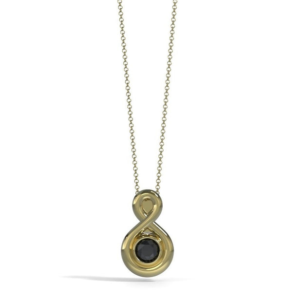 Small Eternity Memorial Pendant in 18K Yellow Gold with Onyx Front
