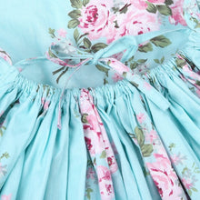 Load image into Gallery viewer, Cherie Floral Flutter Sleeve Dress Girls Aqua - Adassa Rose