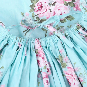 Cherie Floral Flutter Sleeve Dress Girls Aqua - Adassa Rose
