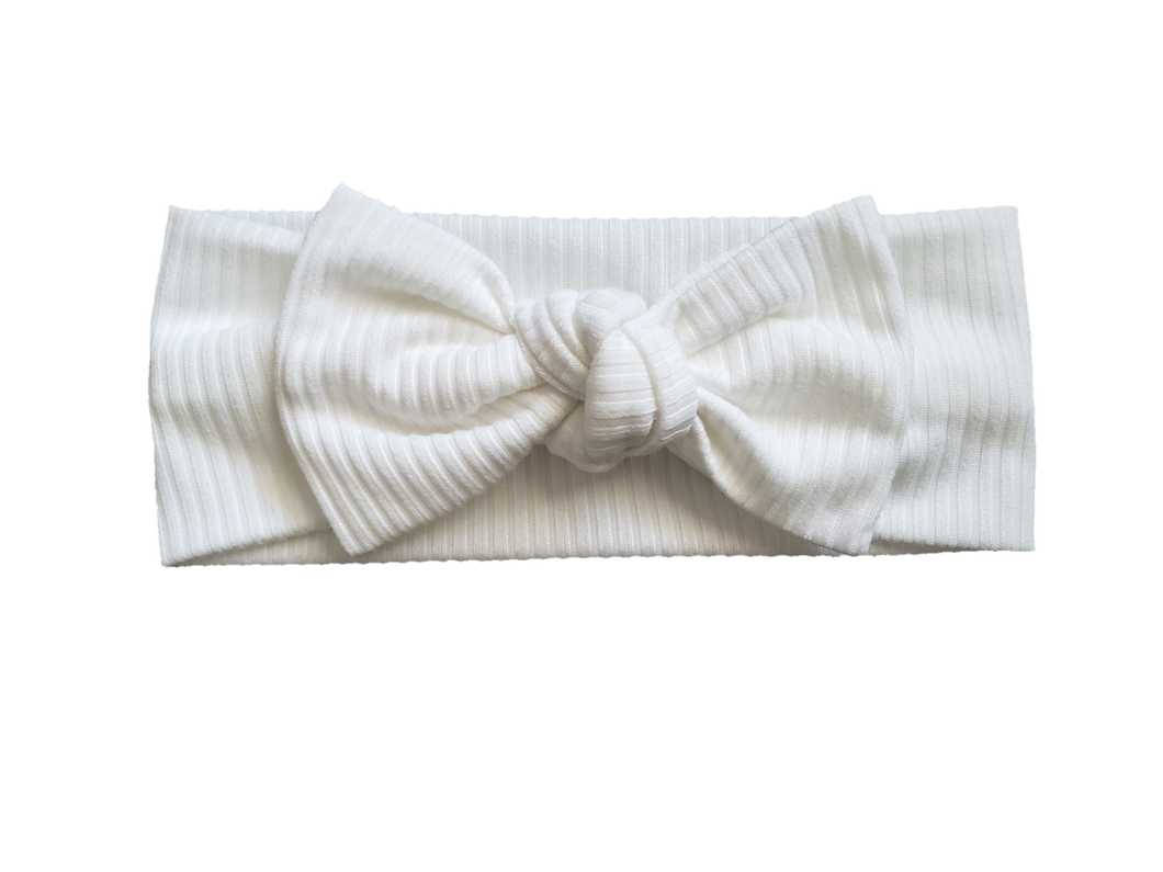 Ribbed Knot Bow Headband In White