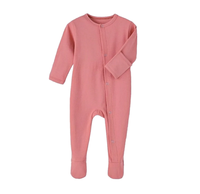 Baby Girl Peach Ribbed Footed Romper One-Piece