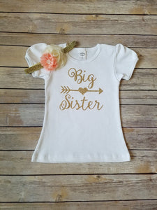 Big Sister Gold Glitter Shirt - Adassa Rose