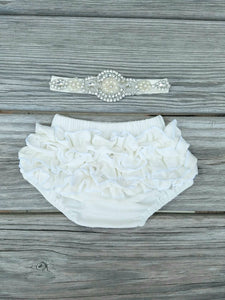 Ivory Newborn Bloomer And Headband - Adassa Rose