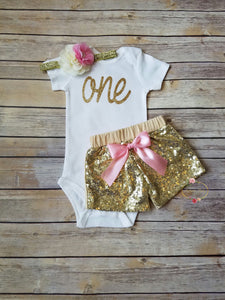 Pink And Gold First Birthday Outfit - Adassa Rose
