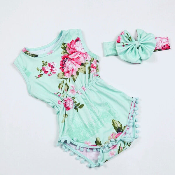 Mint And Pink Floral Pom Pom Romper – Adassa Rose