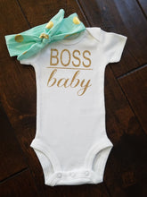 Load image into Gallery viewer, Gold Glitter Boss Baby Onesie Funny Onesie - Adassa Rose