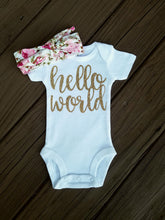 Load image into Gallery viewer, Cali Hello World Onesie And Floral Headband - Adassa Rose