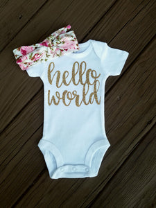 Cali Hello World Onesie And Floral Headband - Adassa Rose