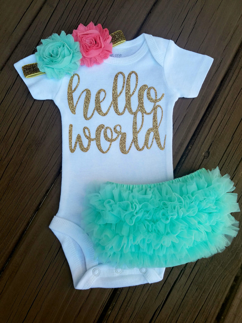Luna Mint Coral And Gold Hello World Newborn Outfit Hello World Bodysuit Coming Home Outfit Girl - Adassa Rose