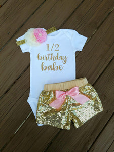 Half Birthday Pink And Gold Outfit Six Month Birthday Outfit Girls - Adassa Rose