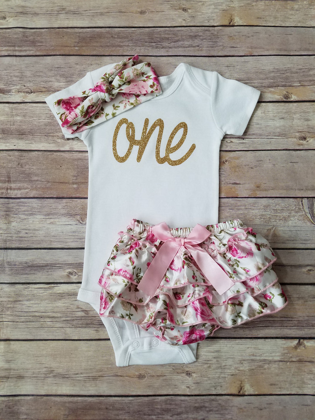 Pink And Gold First Birthday Outfit Floral - Adassa Rose