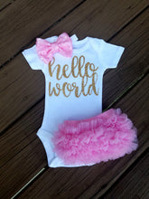 Load image into Gallery viewer, Pink And Gold Newborn Outfit Hello World Outfit Baby Girl Outfit - Adassa Rose