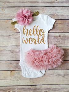 Dusty Pink And Gold Hello World Newborn Outfit Hello World Bodysuit Coming Home Outfit Girl - Adassa Rose