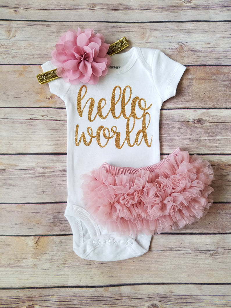 6ca9f66f0b813 Dusty Pink And Gold Hello World Newborn Outfit Hello World Bodysuit Coming  Home Outfit Girl -