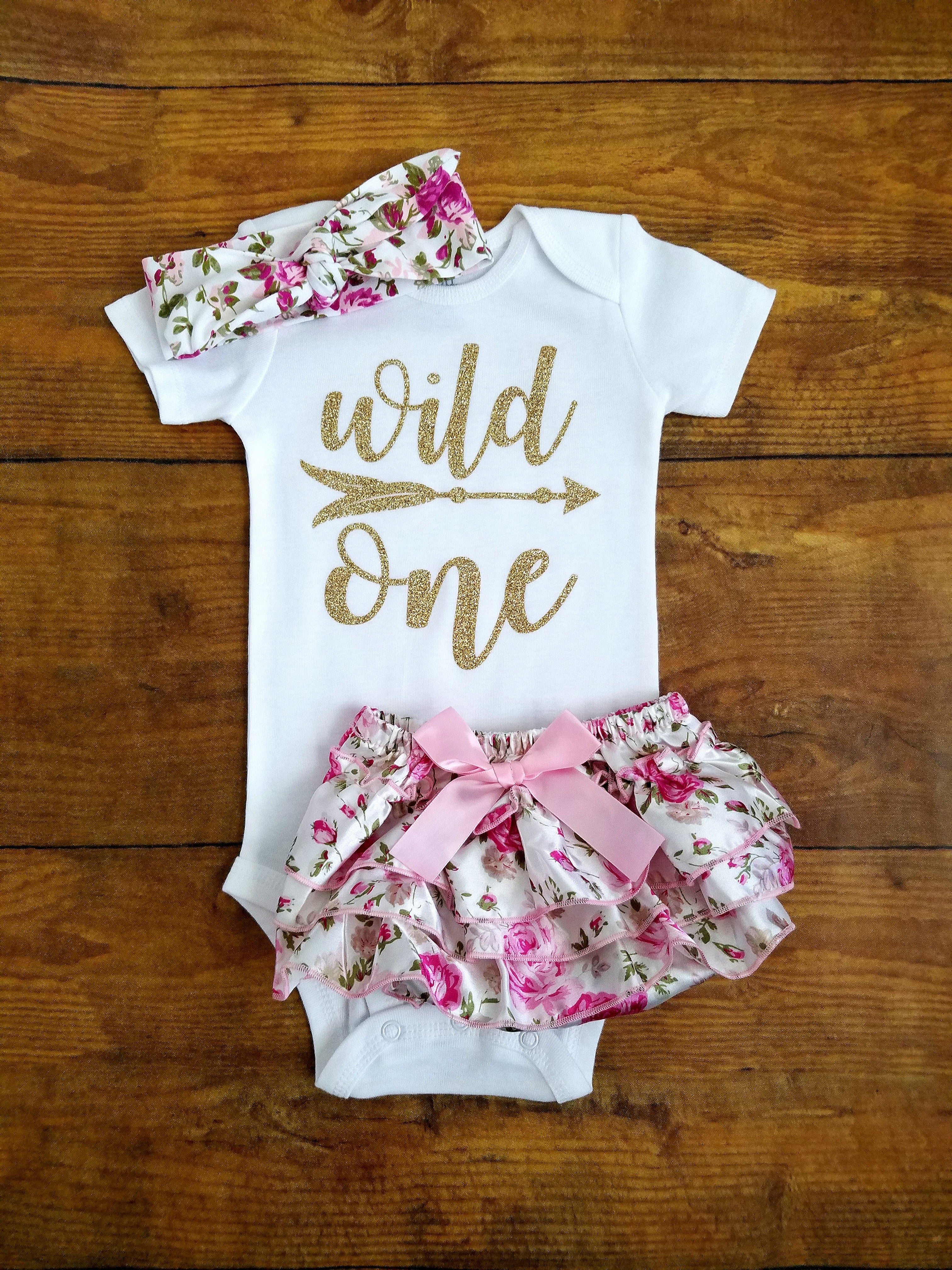 Pink And Gold Wild One First Birthday Outfit Floral Adassa Rose