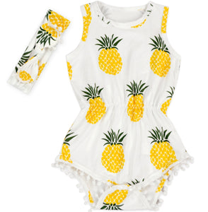 Pineapple Pom Pom Romper Set - Adassa Rose