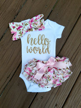 Load image into Gallery viewer, Janie Hello World Newborn Outfit Hello World Bodysuit Coming Home Outfit Girl - Adassa Rose