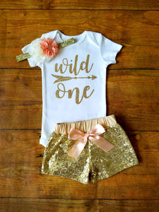 Wild One First Birthday Outfit Girl Peach And Gold - Adassa Rose