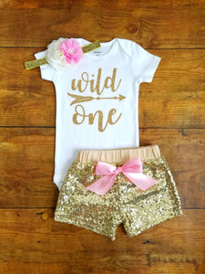 1st Birthday Outfit Girl.Wild One First Birthday Outfit Girl Pink And Gold
