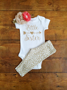 Little Sister Beige Coral And Gold Outfit Take Home Outfit Girl - Adassa Rose