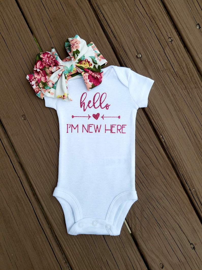 Cora Hello I'm New Here Bodysuit And Floral Headband - Adassa Rose