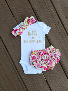 Alana Hello I'm New Here Newborn Outfit Hello World Bodysuit Coming Home Outfit Girl - Adassa Rose