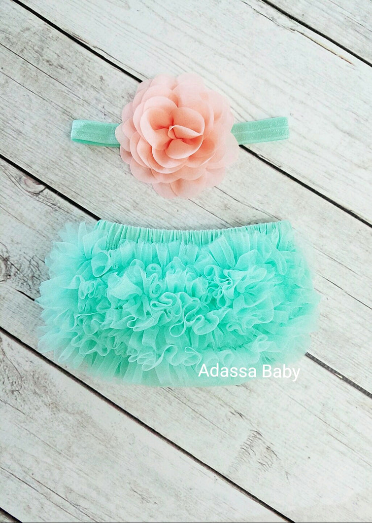Mint And Peach Bloomer And Headband Set - Adassa Rose
