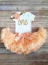 Load image into Gallery viewer, Brooke Peach And Gold First Birthday Outfit - Adassa Rose