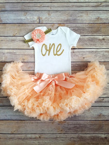 Brooke Peach And Gold First Birthday Outfit - Adassa Rose
