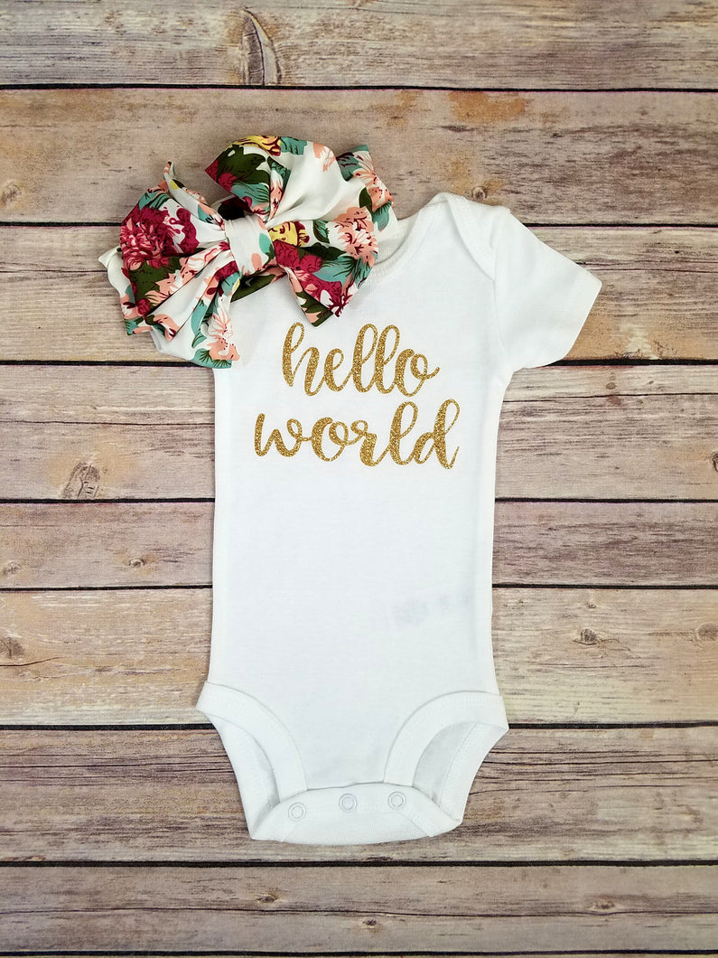 1243cd3c4a9 Charlie Hello World Onesie And Floral Headband Coming Home Outfit Girl - Adassa  Rose