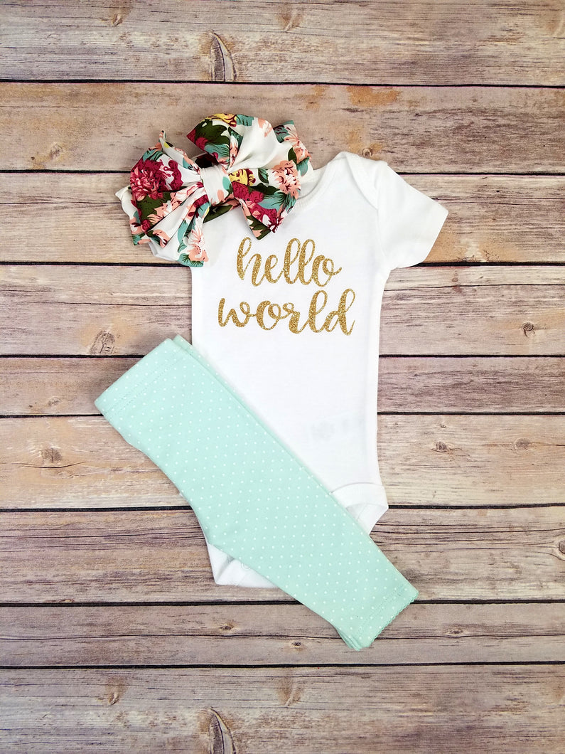 Hello World Newborn Outfit Fuchsia Mint Gold Hello World Newborn Coming Home Outfit Girl - Adassa Rose